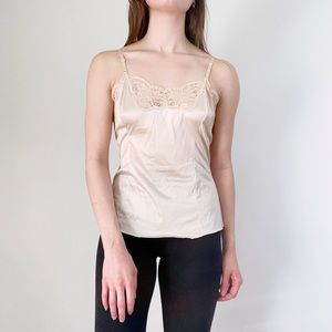 Vintage 60s Wonder Maid Non-Cling Lace Trimmed Union Made Cami Top Size 32